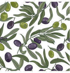 natural seamless pattern with olive tree branches vector image