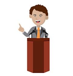 Orator Standing On Podium vector