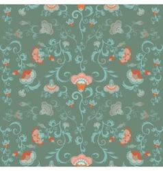 Oriental flowers pattern floral ornament in green vector image