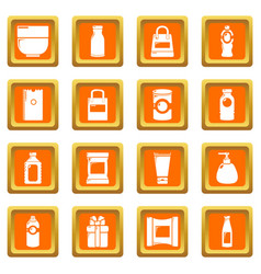 packagiong store shop icons set orange square vector image