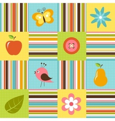 Patchwork background with flowers bird pear and vector