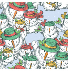 pattern of the cheerful christmas snowmen vector image