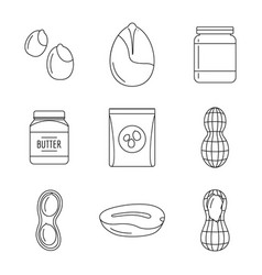 peanut nuts butter jar icons set outline style vector image