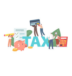 People fill tax declaration concept business vector