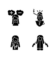 Physical symptoms of anxiety black glyph icons vector