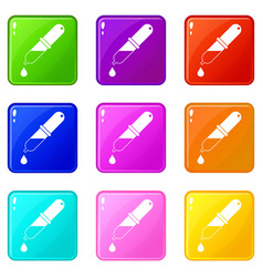 Pipette icons 9 set vector