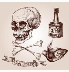 pirate set skull and crossbones hat vector image