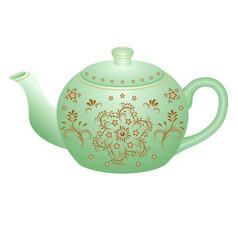 Porcelain teapot for tea set ornate with golden vector