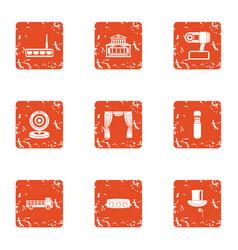 Progress in robotics icons set grunge style vector