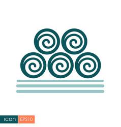 Round hay bales icon vector