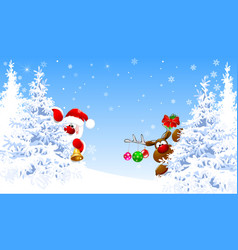 Santa claus and deer in the winter forest vector