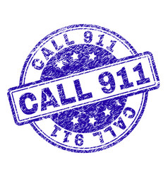 Scratched textured call 911 stamp seal vector