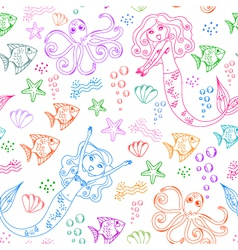 Sea life pattern vector