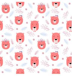 seamless childish pattern with cute bears - boho vector image