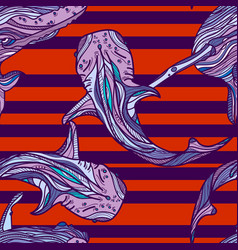 seamless pattern with whales and red stripes vector image