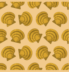 Seamless pattern with yellow shell paper vector