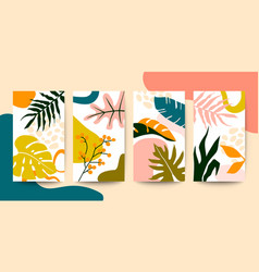 Set abstract colorful floral art leaves vector
