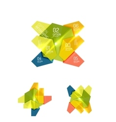 Set of abstract geometric paper graphic layouts vector