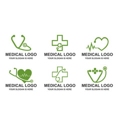 set of medical stethoscope heart pulse logo vect vector image
