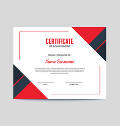 Simple red and blue certificate design vector