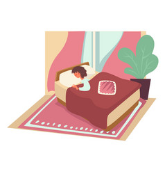 Sleeping woman in bed under blanket on pillow vector