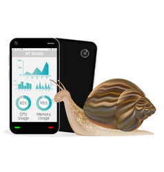 Slow smartphone with snail vector