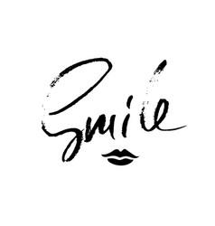 smile modern dry brush lettering romantic vector image