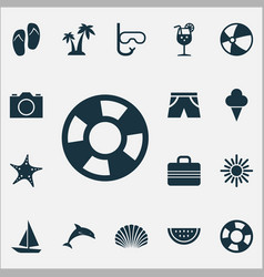 Sun icons set collection of sorbet video vector