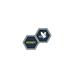 Trendy flat honey bee icon and logo vector