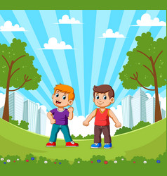 Two happy smiling boys at garden with cityscape vector