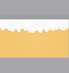 Whipped cream melted on wafer background cream vector