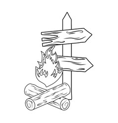 wooden arrow guide with campfire vector image