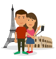Young couple man and woman are making travel vector