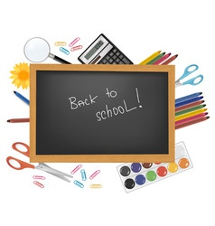 back to school black desk vector image