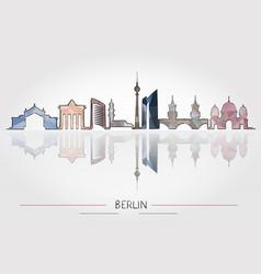 berlin skyline detailed silhouette vector image vector image