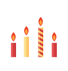 flat colorful burning candles set isolated on vector image vector image