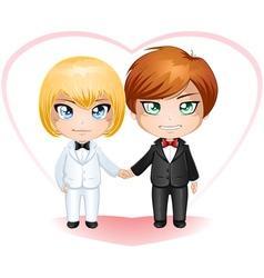 Gay Grooms Getting Married 2 vector image