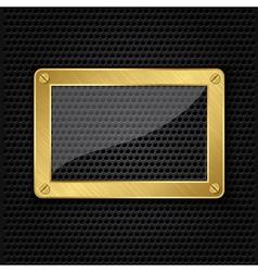 Glass in golden frame on abstract metal speaker gr vector image vector image