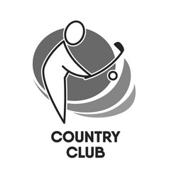 golf country club logo colorless template on white vector image vector image