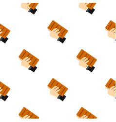 hand holding a brick pattern seamless vector image vector image