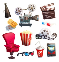 Set Of Colored Isometric Cartoon Cinema Icons vector image vector image