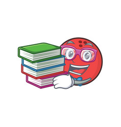 Student bowling ball character cartoon with book vector