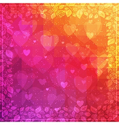 Valentines day background with rose frame vector