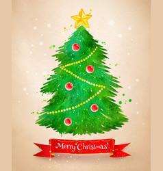 vintage postcard with christmas tree vector image