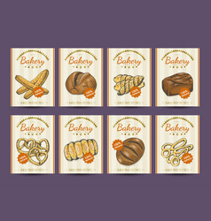 collection of posters with various bakery products vector image