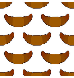 croissant seamless pattern on white background vector image vector image