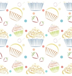 Cupcakes food pattern Seamless background vector image vector image