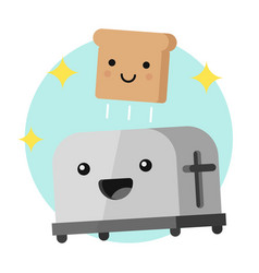 funny toaster and a slice of bread vector image vector image