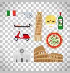 italy icons set on transparent background vector image