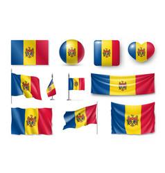 Set moldova flags banners banners symbols flat vector